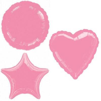 PINK METALLIC HEART STAR CIRCLE FOIL BALLOON DECORATOR BIRTHDAY BALLOONS