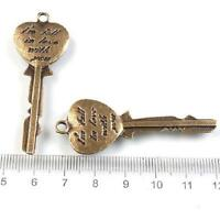 STEAMPUNK Love Key to Heart Bronze Charm Pendant – 55x20x2mm