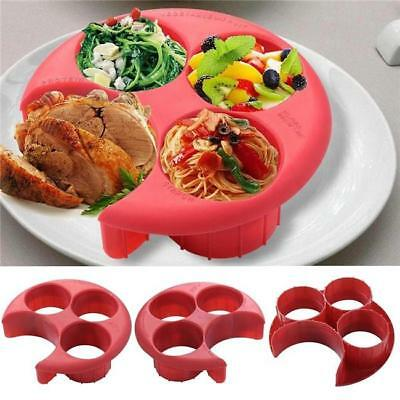 (Meal Measure Portion Control Plate Red Diet Weight Loss Healthy Eating Tool - S)