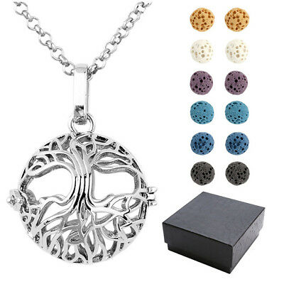 Tree Of Life Lava Bead Stone Locket Necklace Aromatherapy Essential Oil Diffuser