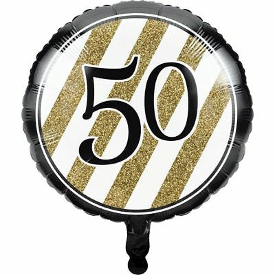 Black and Gold 50th Birthday Foil Balloon Fifty Birthday Party Decoration