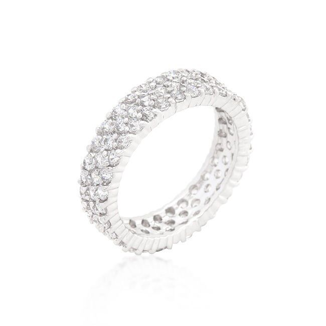 3 CARAT .925 STERLING SILVER ROUND ETERNITY RING BAND SIZE 5 6 7 8 9