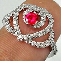 RUBY & WHITE TOPAZ GEMSTONE 925 Hallmarked SILVER RING Size  5.5