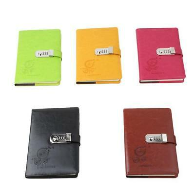 Vintage PU Leather Journal Diary Notebook With Password Code Lock 6A