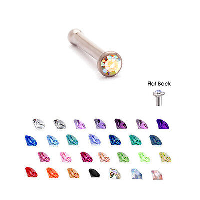 Surgical Steel Nose Bone Stud Ring 1.5mm Micro Gem 20G Gem Micro Nose Bone