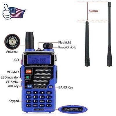 Baofeng UV-5R Plus Blue Qualette FM VOX Dual band VHF UHF Two-way Radio US Ham