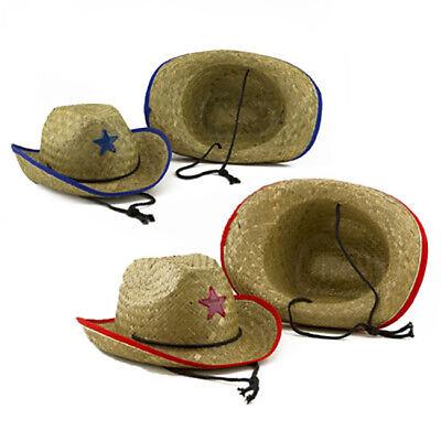 Kids Cowboy Dress Up (6pk Kids Straw Cowboy Hat Sheriffs Star Western Play Pretend Dress Up Costume)