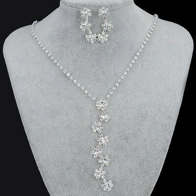 SILVER PLATED AUSTRIAN CLEAR RHINESTONE CRYSTAL NECKLACE EARRINGS BRIDAL SET