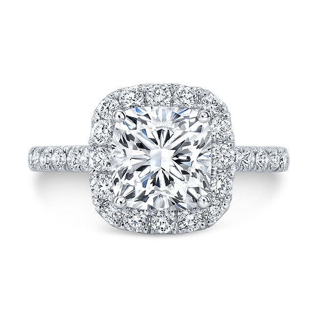 Beautiful 2.08 Ct Cushion Cut Halo Round Diamond Engagement Bridal Set I, IF GIA 1