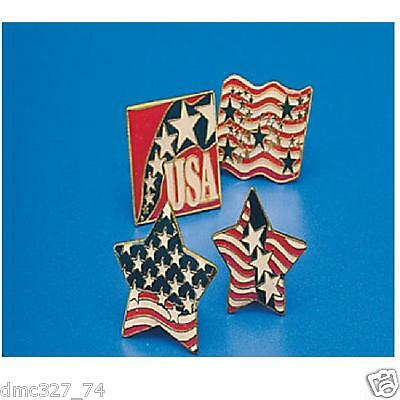 12 4th of July PATRIOTIC Party Favors MINI Red White Blue CLUTCH LAPEL PINS (4th Of July Party Favors)