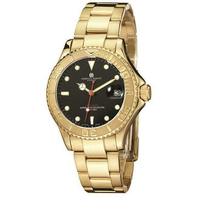 Charles-Hubert- Paris Mens Gold-Plated Stainless Steel Automatic Watch #3514-GB