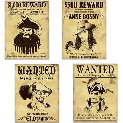 Pirate Wanted Sign Cutouts 4 Pack 15