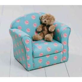 NOW HALF PRICE ..NEW Toddlers armchair in pretty teal with pink flamingo fabric.