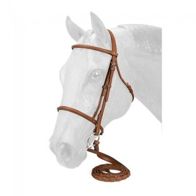 NEW Tough-1 Silver Fox Raised Snaffle Bridle - Cob, Chestnut