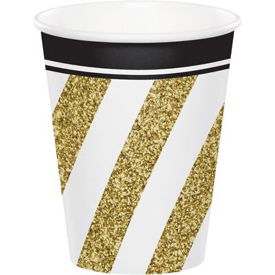 Black and Gold 9oz Hot/Cold Paper Cups Birthday Party Decorations