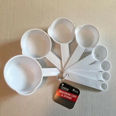 Measuring Cups Spoons White Kitchen Home Dishwasher Safe Nesting 8 Piece Plastic