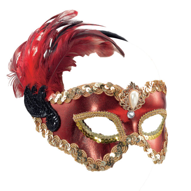 Red Satin Venetian Eye Mask With Feathers Masquerade Fancy Dress On H/Band