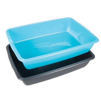 2 x Whitefurze 40cm Medium Size Plastic Cat Litter Tray  BLACK & TEAL  **CLBT2