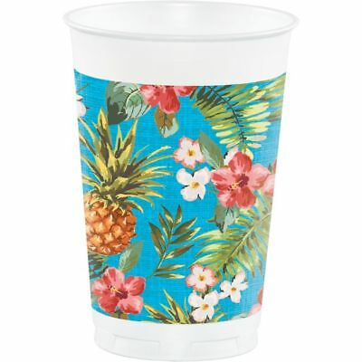 Hawaiian Luau Party Pineapple Aloha 16 oz Plastic Cups 8 Pack