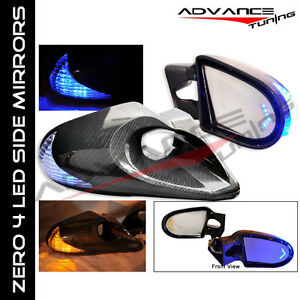 LED SIDE VIEW MIRRORS FOR 96-00 CIVIC 2/3DR CARBON POWER W/ SIDE BASE(PAIR)