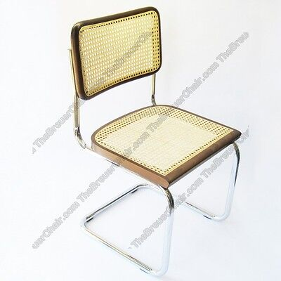 Marcel Breuer Cesca Cane Side Chair In Walnut W  Chrome Finish Made In Italy