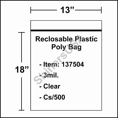 3 mil Reclosable Poly Bag 13x18 Clear Ziplock cs/500 (137504)