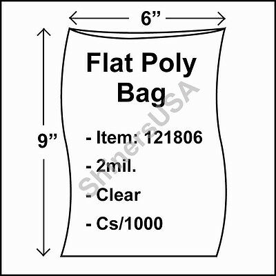 1000 2-Mil 6x9 Clear Poly Bag Open Top Lay Flat Packaging 121806