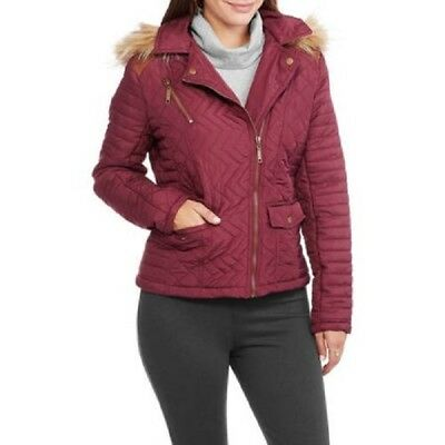 Maxwell Studio Women's Quilted Chevron Puffer Coat With Fur-Trim Hood Size Large Chevron-puffer