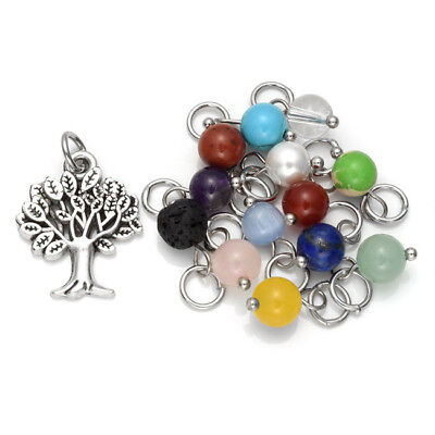 Natural Birthstones Gift Lava Stone Alloy Family Tree Pendant Charm Fit -