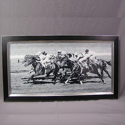 WANDBILD ca 112x63 HOLZ ALU PFERDERENNEN ENGLISCHES VOLLBLUT HORSE RACING ASCOT