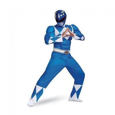 Disguise Power Rangers Blau Klassisch Muskel Erwachsene Herren Halloween Kostüm ()