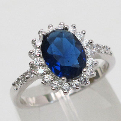 LOVELY 2 CT OVAL CUT SAPPHIRE  925 STERLING SILVER RING SIZE 5-10 - Oval Cut Sapphire Ring