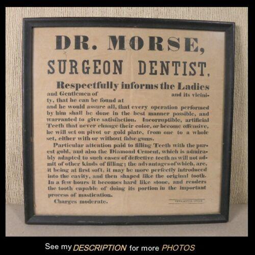 Antique Framed Broadside Traveling Dentist Dr Morse / Surgeon