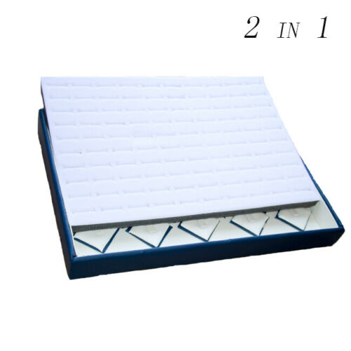 2 in 1 White & Blue Faux Leather with 100 Slots Deluxe Velvet Rings Display Tray