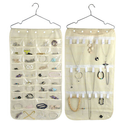 40 Pockets Double-Side PVC Closet Jewelry Hanging Organizer Display Bag Beige - Side Hanging Display