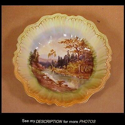 Antique 1890-1910 Schmidt & Co Victoria Austria Porcelain Bowl Woodland Scene