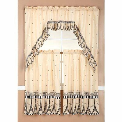 Ruffle Paris Tier and Valance Kitchen Curtain Set