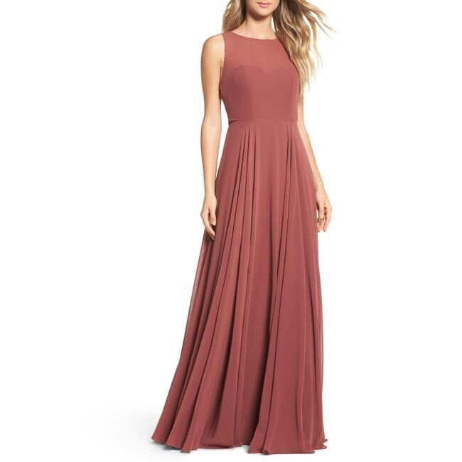 Jenny Yoo Cinnamon Rose Elizabeth Chiffon Gown Size 8