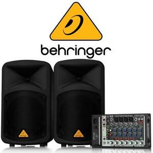 NEW* BEHRINGER 8CH PA SYSTEM 142091818 8 CHANNEL PORTABLE DUAL SPEAKERS NEW OPEN BOX