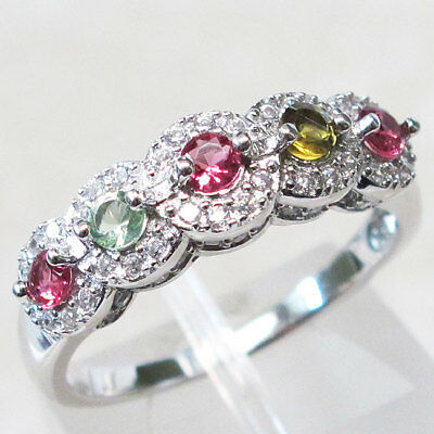 FANCY ROUND CUT RUBY, OLIVINE & PERIDOT 925 STERLING SILVER RING SIZE 5-9