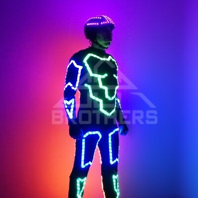 Tron LED costume and LED Helmet for Flyboard show. Model Defender. Extended Set (Tron Costume)