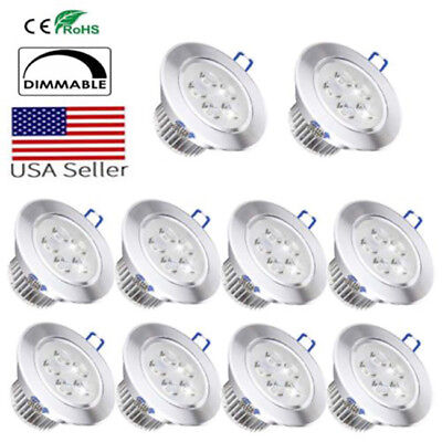 10pcs/lot Downlight LED Dimmable Ceiling Light Recessed Lamp Spotlight 3W 4W 5W 3 Lamp Ceiling Light