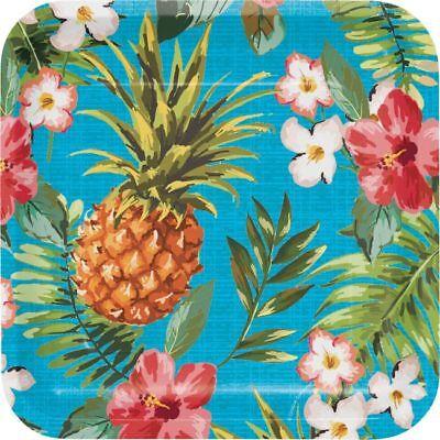 Hawaiian Luau Party Pineapple Aloha Deep Dish 9 Inch Square Paper Plates 8 Pack - Hawaiian Paper Plates