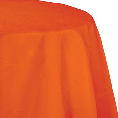 Orange 2/Ply Paper-Poly Round Tablecloth - Paper Tablecloths Round