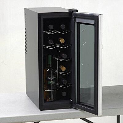 Wine Cooler Refrigerator Beverage Chiller 12 Bottle Storage Counter Fridge Gray
