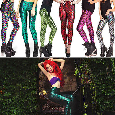 11Colors Fashion Womens Mermaid Fish Scale Skinny Stretch Slim Pants Leggings](Mermaid Pants)
