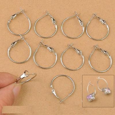 20-40MM Wholesale 100X White Gold Plate Loop DIY Jewelry Findings Hoop Earrings