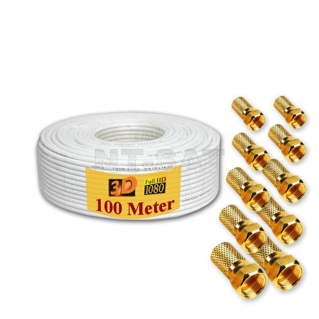 Sat Kabel 100 m Koaxialkabel Koax Antennenkabel HD 3D für sat REINES ...