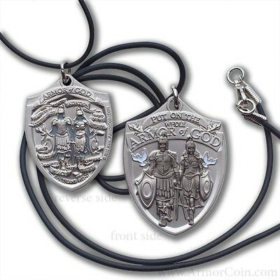 Mens Armor of God Dog Tag Pendant with Black Cord Military Style - Armor Of God Necklace