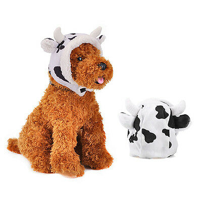 Cute Small Pet Dog Cat Milk Cow Hat Puppy Dog Party Costume Hat Winter Warm New